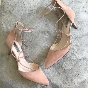 I.N.C. Daree blush suede lace-up pumps